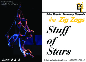 """Four teens hang upside down on an aerial apparatus. Words include the show title """"Stuff of Stars"""" and the dates, June 2 & 3"""