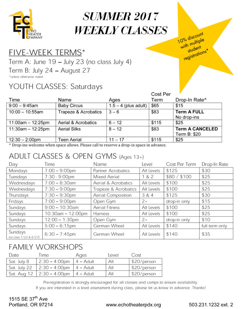 17 Summer Weekly Classes