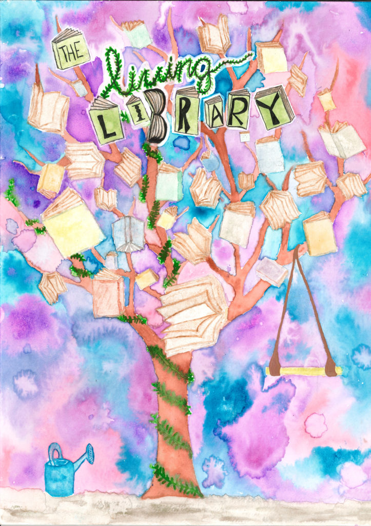 Image is a watercolor painting of a tree with green wrapped around the trunk. The branches are filled with books and a trapeze hangs from one branch.